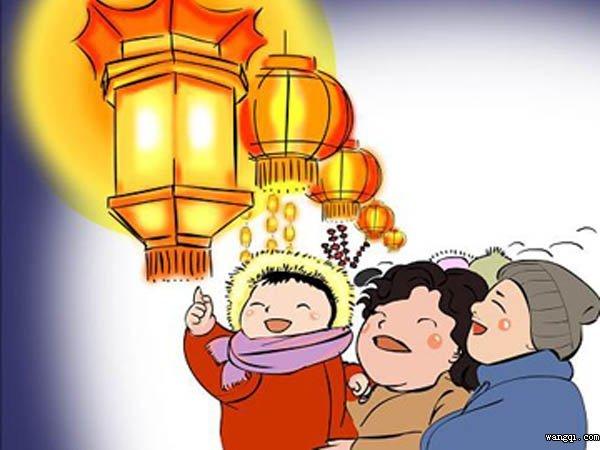 元宵团圆饭卡通图片-春节吃团圆饭卡通