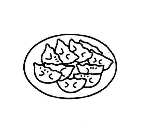 一盘饺子简笔画