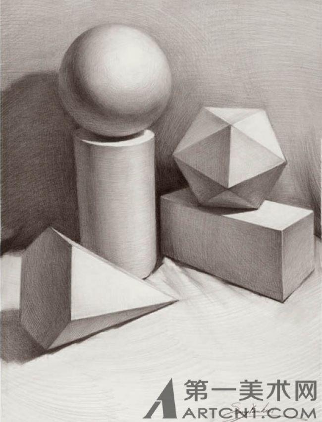 三级石膏几何体组合: 构图适当